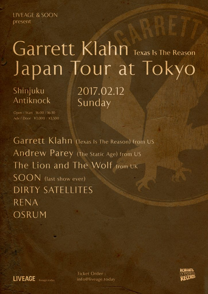 Garrett Klahn(Texas Is The Reason) Japan Tour at Tokyo